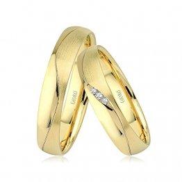 GIORO Loreto Eheringe Trauringe Hochzeitsringe massiv Gold *handgefasste Brillanten* Paarpreis Echtes Gold (18 Karat (750) Gelbgold) - 1
