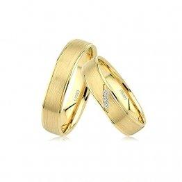 GIORO Verona Eheringe Trauringe Hochzeitsringe massiv Gold *handgefasste Brillanten* Paarpreis Echtes Gold (18 Karat (750) Gelbgold) - 1