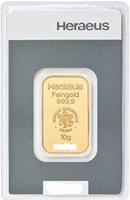Goldbarren 10 g 10g Gramm Heraeus - Feingold 999.9 im Scheckkartenformat - LBMA zertifiziert - Anlagegold online kaufen - Edelmetalle als Anlage und Geschenk - 1