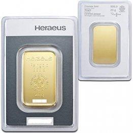 Goldbarren 20 g 20g Gramm Heraeus - Feingold 999.9 im Scheckkartenformat - LBMA Zertifiziert - Anlagegold online kaufen - Edelmetalle als Anlage und Geschenk - 1