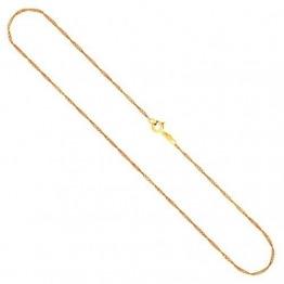 Goldkette, Singapurkette Gelbgold 585/14 K, Länge 45 cm, Breite 1.4 mm, Gewicht ca. 1.8 g, NEU - 1