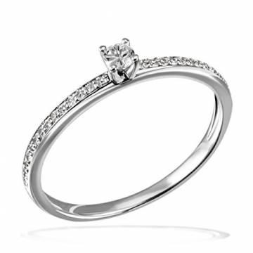 Goldmaid Damen-Ring Verlobung 585 Weißgold Diamant (0.18 ct) weiß Brillantschliff Gr. 58 (18.5)-Pa R7437WG58 Verlobungsring Diamantring - 1