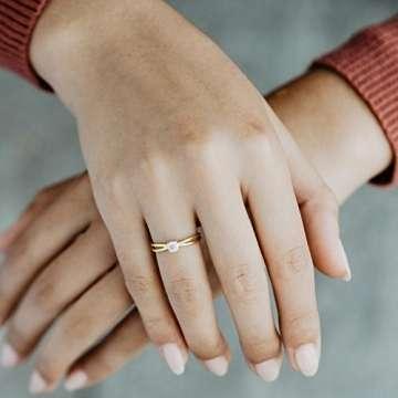Goldring Verlobungsringe Gold 333 GRATIS LUXUSETUI Goldring 333er Gold Ring echt von AMOONIC mit Zirkonia Stein Goldring Gelbgold wie Verlobungsring Ring Diamantring Solitär FF386GG333ZIFA52 - 2