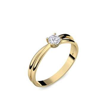 Goldring Verlobungsringe Gold 333 GRATIS LUXUSETUI Goldring 333er Gold Ring echt von AMOONIC mit Zirkonia Stein Goldring Gelbgold wie Verlobungsring Ring Diamantring Solitär FF386GG333ZIFA52 - 3