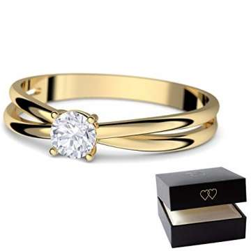 Goldring Verlobungsringe Gold 333 GRATIS LUXUSETUI Goldring 333er Gold Ring echt von AMOONIC mit Zirkonia Stein Goldring Gelbgold wie Verlobungsring Ring Diamantring Solitär FF386GG333ZIFA52 - 4