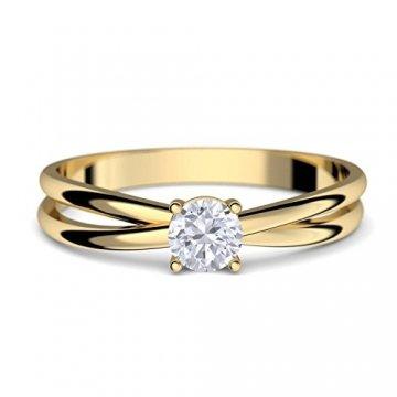 Goldring Verlobungsringe Gold 333 GRATIS LUXUSETUI Goldring 333er Gold Ring echt von AMOONIC mit Zirkonia Stein Goldring Gelbgold wie Verlobungsring Ring Diamantring Solitär FF386GG333ZIFA52 - 1