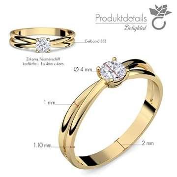 Goldring Verlobungsringe Gold 333 GRATIS LUXUSETUI Goldring 333er Gold Ring echt von AMOONIC mit Zirkonia Stein Goldring Gelbgold wie Verlobungsring Ring Diamantring Solitär FF386GG333ZIFA52 - 5