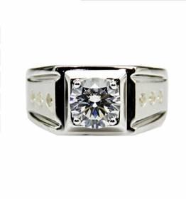 GOWE Herren-Ehering mit 2 Karat Moissaniten im Labor gewachsenen Diamanten, 9 Karat Weißgold, Punkteakzente - 1