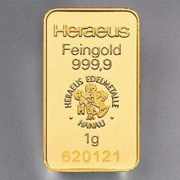Heraeus 1g Barren, Feingold, Gold - 1