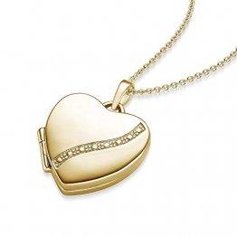 Herz Medaillon Gold Herzkette Damen-Kette Halskette Foto Gelbgold vergoldet Herz-Anhänger goldenes Gold-Kette farben zum Öffnen aufklappbar Medallion Medalion Medaillons Amulett FF03 VGGG45 - 1