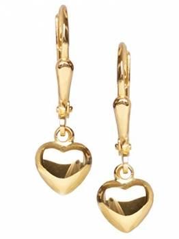 Herz Ohrhänger Ohrringe Gelbgold 750 Gold (18 Karat) 22mm x 6mm Herzchen Herzform Herzohrringe Goldohrringe Damenohrringe Mädchenohrringe Sweet Girl V0011259 - 1