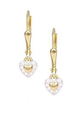 Herz Ohrringe Ohrhänger Gelbgold 333 Gold (8 Karat) Mit Zirkonia 20mm x 4,5mm Goldohrringe Herzchen Herzen Herzform Mädchenohrringe Patty O-07376-G301-CZC-whi - 1
