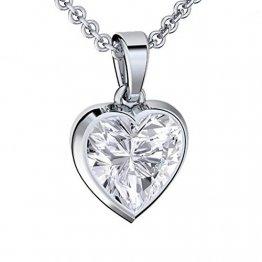 Herzkette Silber 925 Premium Etui mit *Ich Liebe Dich* Gravur Halskette für Damen Silber Herz Kette Damen Freundin Geschenk Liebe Silberkette mit Anhänger Silber-Schmuck Frau Frauen Damenkette Herz - 1