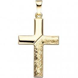 JOBO Anhänger Kreuz 585 Gold Gelbgold gehämmert Goldanhänger Goldkreuz Kreuzanhänger - 1