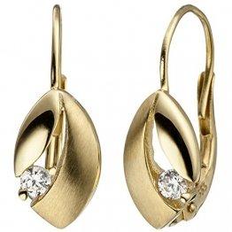 JOBO Boutons 333 Gold Gelbgold matt 2 Zirkonia Ohrringe Ohrhänger Goldohrringe - 1