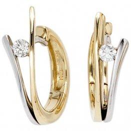 JOBO Creolen 585 Gelbgold Weißgold kombiniert 2 Diamant-Brillanten Gold-Ohrringe - 1
