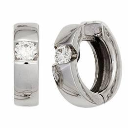 JOBO Creolen 585 Gold Weißgold 2 Diamanten Brillanten Ohrringe Klappmechanik - 1