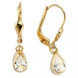 JOBO Damen-Ohrhänger aus 333 Gold mit Zirkonia Tropfen - 1