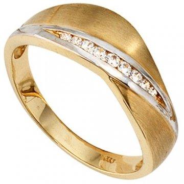JOBO Damen-Ring 333 Gold Gelbgold teilrhodiniert teilmattiert 9 Zirkonia - 1