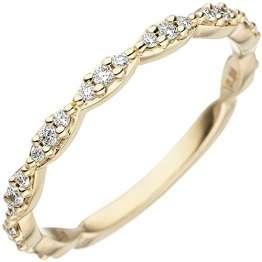 JOBO Damen Ring 585 Gold Gelbgold 27 Diamanten Brillanten Goldring Diamantring Größe 58 - 1