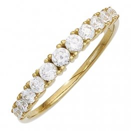JOBO Damen-Ring aus 333 Gold mit 11 Zirkonia Größe 56 - 1