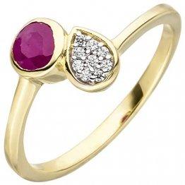 JOBO Damen-Ring aus 333 Gold mit Rubin und 9 Zirkonia Größe 56 - 1