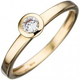 JOBO Damen-Ring aus 333 Gold mit Zirkonia Größe 50 - 1
