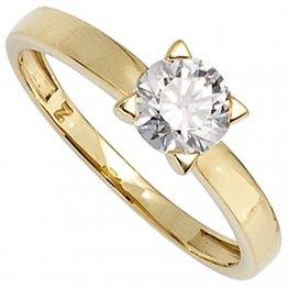 JOBO Damen-Ring aus 333 Gold mit Zirkonia Größe 52 - 1