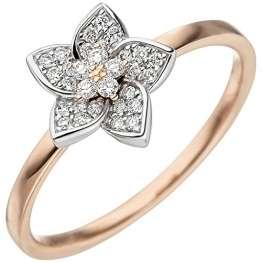 JOBO Damen-Ring Blume aus 585 Gold Bicolor mit 30 Diamanten Größe 60 - 1