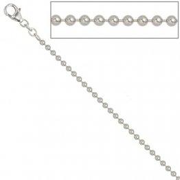 JOBO Kugelkette 925 Sterling Silber rhodiniert 2,5 mm 50 cm Halskette - 1