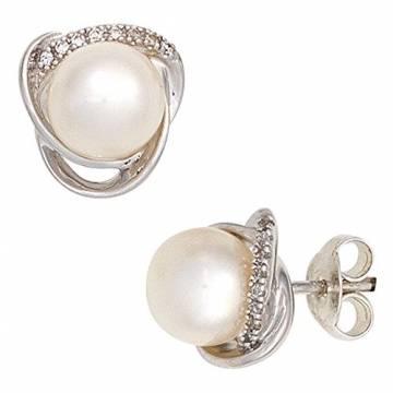 JOBO Ohrstecker 585 Weißgold 2 Süßwasser Perlen 16 Diamanten Brillanten Ohrringe - 1