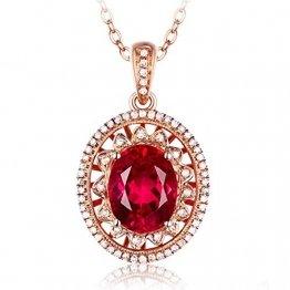 KnBoB Halskette Oval Anhänger Diamant-Halskette Rose Gold-2ct mit 2ct Rot Rubellite Halskette für Damen 18K Gold - 1