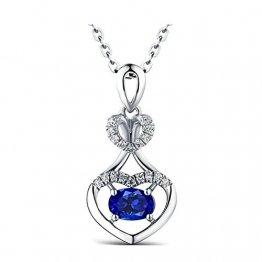 KnSam 18 K Gold Damen Halskette In Gold Damen Kette 18Karat Saphir Doppelherz Diamant Mit 2Ct Sapphire Blau - 1