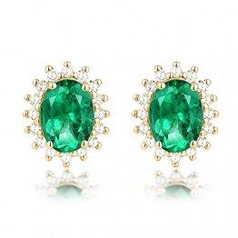 KnSam 18 K Gold Damen Ohrringe Rosegold Echt Ohrringe Damen Rosegold Ovaler Smaragd Mit Diamant Mit 3.5Ct Emerald Gold - 1