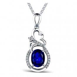 KnSam 18 K Gold Gold Halskette 750 Gold Kette Echt Saphir Oval Flower Diamond Mit 3.37Ct Sapphire Blau - 1