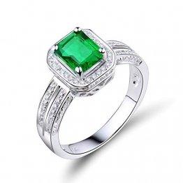 KnSam Damen Ring, 4 Stift Rechteck Smaragd Diamanten Ehering Damen 18 Karat (750) Weißgold Gold Ring 750 Herren Trauringe Eheringe Gold Hochzeitringe Weiß Gold 49 (15.6) - 1
