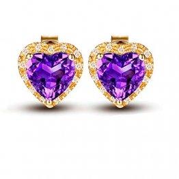 Knsam Ohrringe Damen Hängend Gold Ohrringe Gold 750 18K Echt Herz Natürlichen 1.5 Karat Amethyst 0.078 Karat Diamant Lila - 1