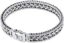 Kuzzoi Buddha Silber-Armband für Herren, handgefertigtes Königskette-Armband aus echten massiven 925 Sterling Silber, Luxus Herren-Armband Gravur, 10mm breit, 38g schwer 0210480118_17 - 1