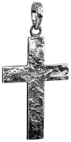 Kuzzoi Silber Kreuz Anhänger für Ketten, massivem 925er Sterling Silber für Halsketten, 54 mm hoch, 7g schwer, sehr hochwertig und exklusiv (schwarz, Oxidiertes Silber) - 1