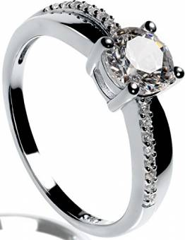 Lars Benz Damen-Ring Verlobungsring Silber 925 Swarovski Zirkonia 1,4 Karat 52-mm - 1
