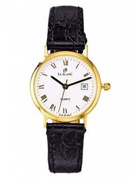 Le Blanc Damen Analog Uhr in 585 Gold (14 Karat) mit Armband in Schwarz aus Leder - 1