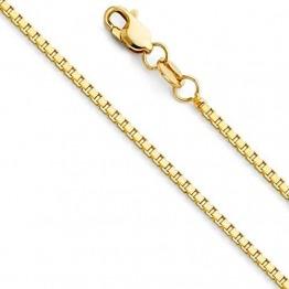 Massive 14 Karat 585 Gold Venezianer Box Kette Unisex Gelbgold -1.20 mm Breit - Verschiedene Längen (55) - 1
