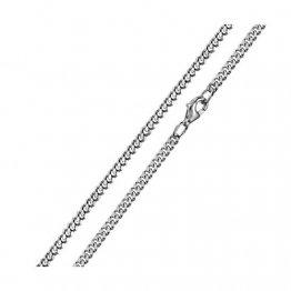MATERIA 3mm Panzerkette Silber 925 diamantiert rhodiniert Halskette Herren Damen silber in 40-80 cm #K27, Länge Halskette:55 cm - 1