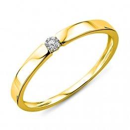 Miore Damen Gelbgold Diamant Solitär Verlobungsring 14KT (585) mit Brillant 0.05 ct (48 (15.3)) - 1