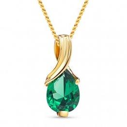 Miore Kette Damen Halskette mit tropfen Anhänger Edelstein/Geburtsstein Smaragd in grün Kette aus Gelbgold 9 Karat / 375 Gold, Halsschmuck 45 cm lang - 1