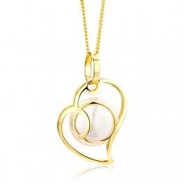 Miore Kette - Halskette Damen Kette Gelbgold 9 Karat / 375 Gold mit Herz Süßwasserperle 45 cm - 1