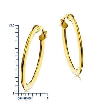 Miore Ohrringe Damen klassische Creolen aus Gelbgold 18 Karat/ 750 Gold, ovale Ohrschmuck 19.5 X 28.5 mm - 2