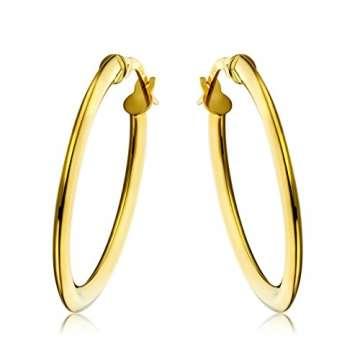 Miore Ohrringe Damen klassische Creolen aus Gelbgold 18 Karat/ 750 Gold, ovale Ohrschmuck 19.5 X 28.5 mm - 1