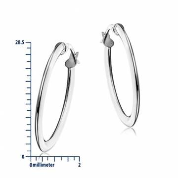 Miore Ohrringe Damen klassische Creolen aus Weißgold 18 Karat/ 750 Gold, ovale Ohrschmuck 19.5 X 28.5 mm - 3