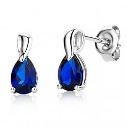 Miore Ohrringe Damen tropfen Ohrhänger mit Edelstein/Geburtsstein Saphir in blau aus Weißgold 9 Karat / 375 Gold, Ohrschmuck - 1